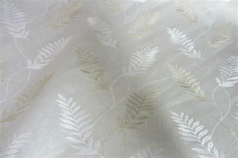 white linen drapery fabric leaf white embroidered linen curtain craft upholstery