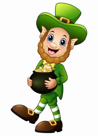 Leprechaun Cartoon Gold Pot Vector Holding Premium