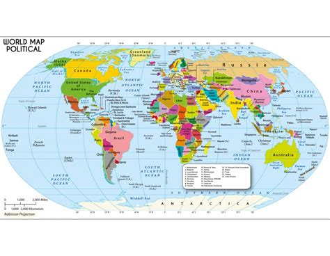 buy large world map in robinson projection