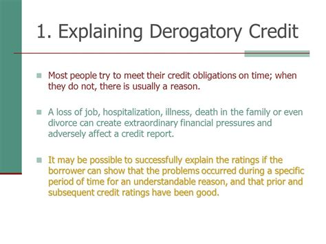letter of explanation for derogatory credit template qualifying the borrower ppt download 18805