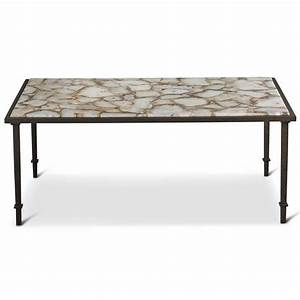Vesuvio global bazaar agate stone iron coffee table for Stone and iron coffee table