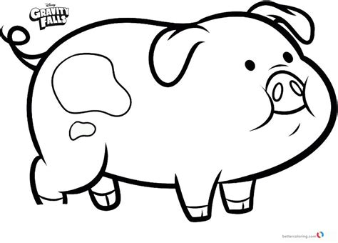 The Pig Coloring Pages Waddles The Pig Gravity Falls Free Coloring Pages