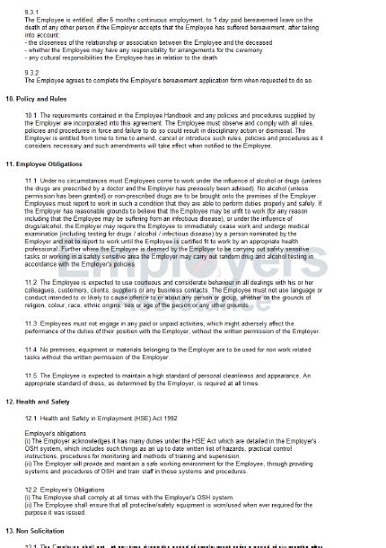 part time employment contract agreement employers