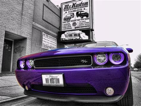 purple halo lights purple halo headlights on purple dodge challenger rt