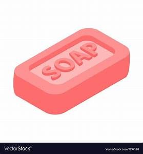 Pink bar of soap 3d isometric icon Royalty Free Vector Image