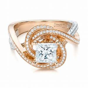 custom rose gold and platinum diamond engagement ring 101749 With rose gold wedding band with platinum engagement ring