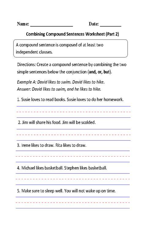 compound sentences worksheets writing compound sentences