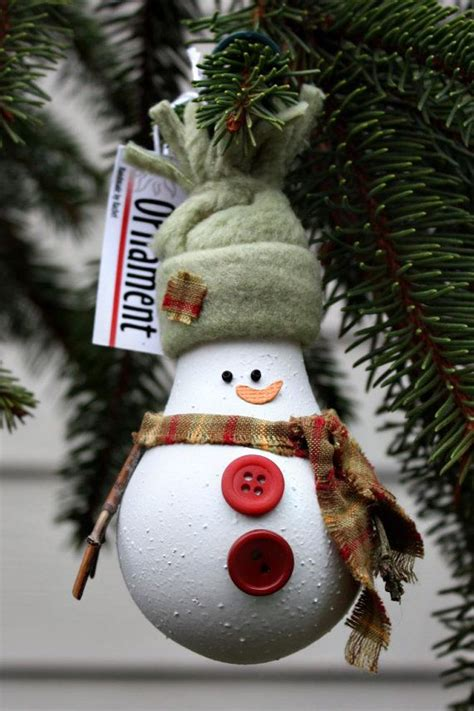 snowman tree ornament made from a recycled