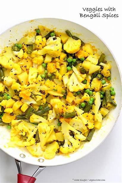 Bengali Vegan Veggies Mixed Indian Recipe Cauliflower