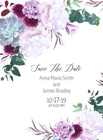 purple  white flowers wedding design vector card stock