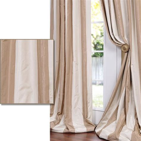 Silk Striped Drapes - light brown striped faux silk taffeta curtain panel