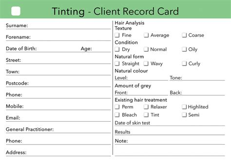 client record card beauty template beauty client card treatment consultation card clients
