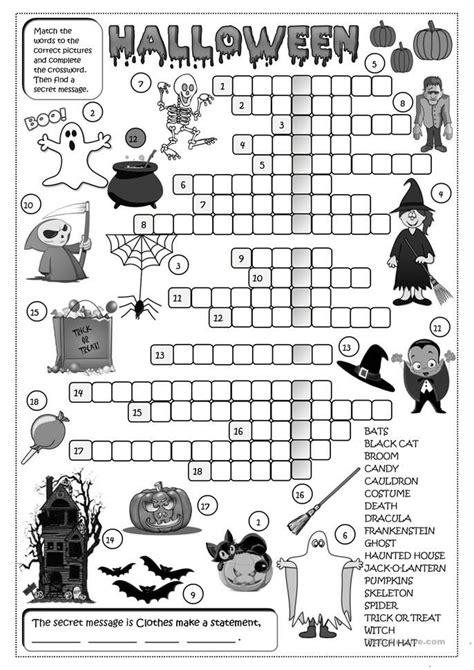 halloween crossword  images halloween worksheets
