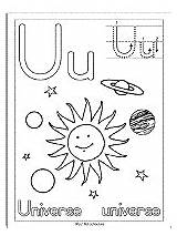 Universe Letter Coloring Pages Printable Space Outer Activities Theme sketch template