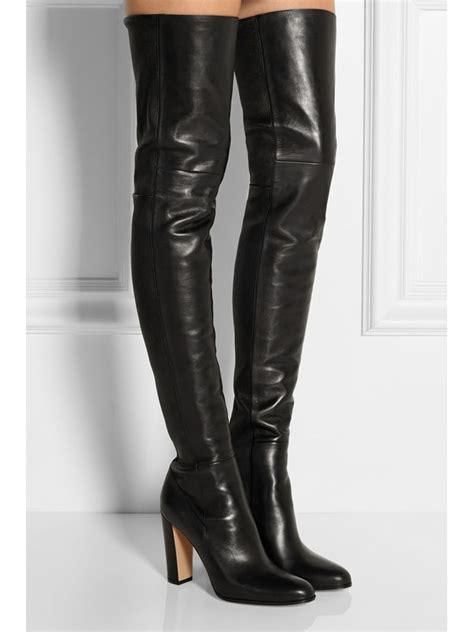 nieuwe sexy zwart lederen dij hoge laarzen vrouwen winter schoenen knie hoge feminina bota