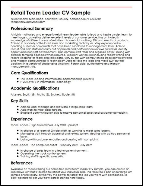 Team Leader Resume Format Free by Retail Team Leader Cv Sle Myperfectcv