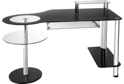 bureau verre et acier bureau informatique verre noir et acier chromé bureau