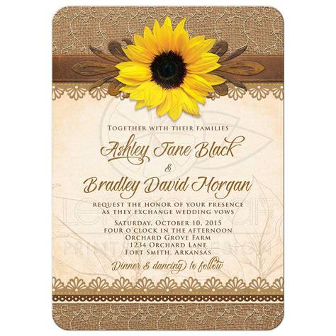 Wedding Invitation Rustic Sunflower Burlap Lace Wood