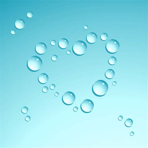 water drop  heart shape vector