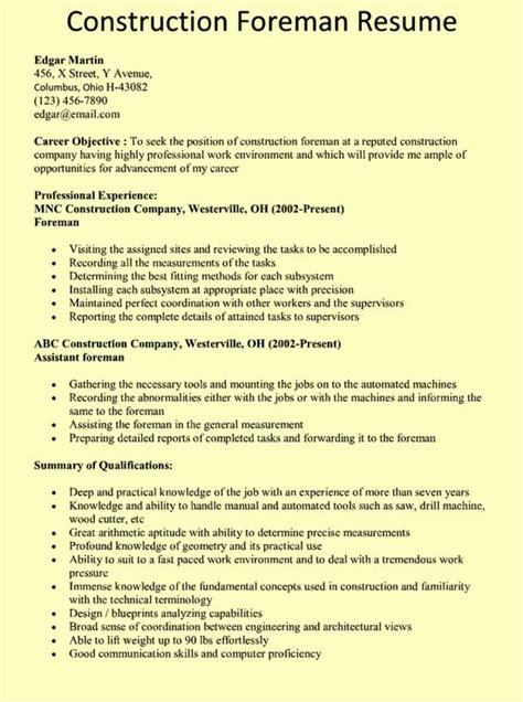 construction foreman resume  httpresumesdesign
