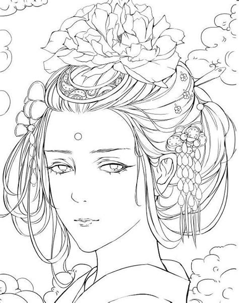 Ancient wind painted color book 2 - Chinese coloring book   Coloring books, How to draw hair