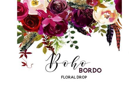 boho bordo burgundy red white flowers clipart