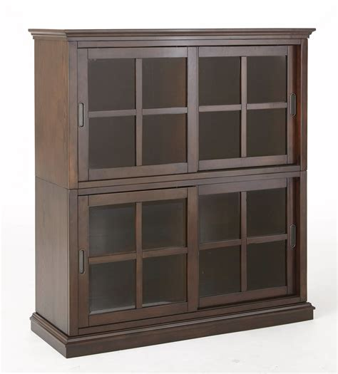 Closed Bookcases tenton stackable closed bookcase with sliding doors in