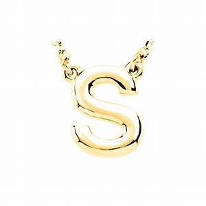 new 14k yellow gold small block letter initial pendant With gold block letter initial necklace