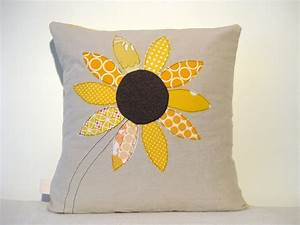 Yellow, Sunflower, Cushion, Cover, Free, Motion, Applique, Summer