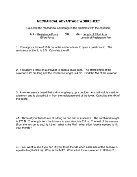 Mechanical Advantage Worksheet Worksheets For All  Download And Share Worksheets  Free On