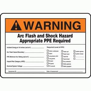 warning arc flash and shock hazard appropriate ppe With arc flash and shock hazard