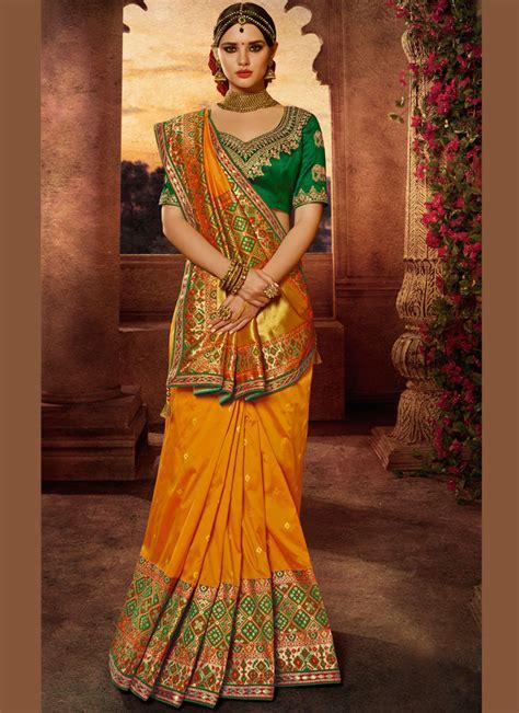 buy yellow  green silk wedding wear saree  uk usa