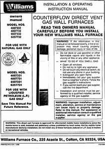 Williams Furnace  Heater  Gas Manual L0408178