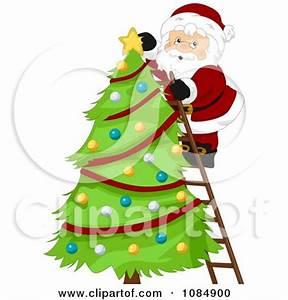Clipart Santa Claus A Ladder Decorating A Christmas