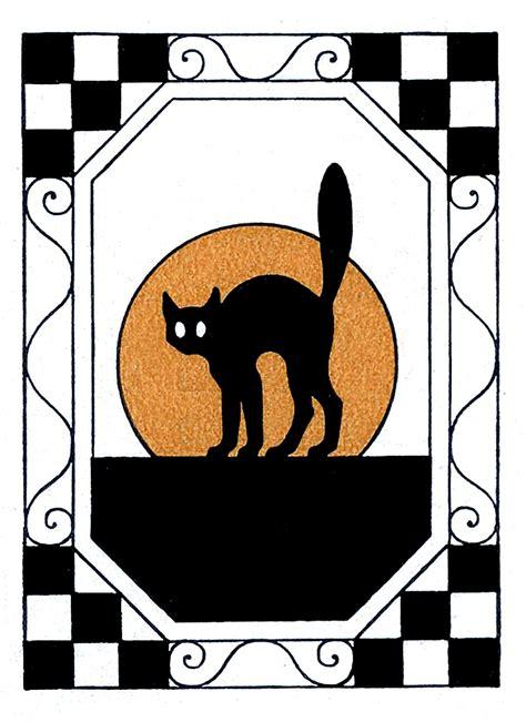 vintage halloween clip art black cat  moon