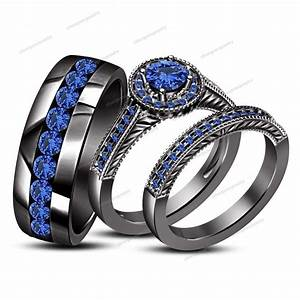 200 ct round cut blue sapphire 14k black gold gp 925 trio for Blue sapphire wedding ring set