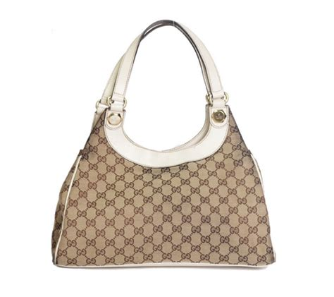 gucci light brown monogram charmy medium canvas leather shoulder bag  white