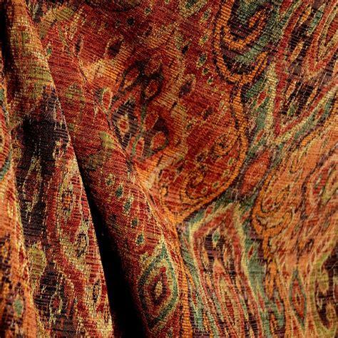 Tapestry Material Upholstery by M9842 Garnet Rust Orange Green Black Tapestry Damask