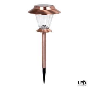 hton bay outdoor antique copper solar led walk light