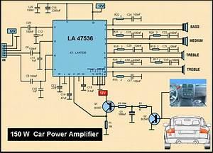 Rangkaian Power Amplifier Mobil 150 Watt La47536