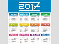Base Calendário 2017 PSD,PNG,PDF,Ai Colorido calendários