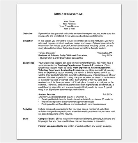 Outline Of Resume by Resume Outline Template 19 For Word And Pdf Format