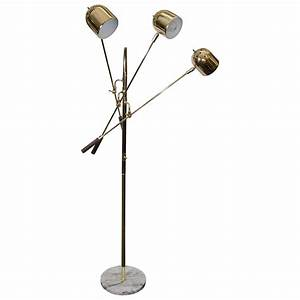 midcentury three arm brass adjustable floor lamp at 1stdibs With brass floor lamp with adjustable arm