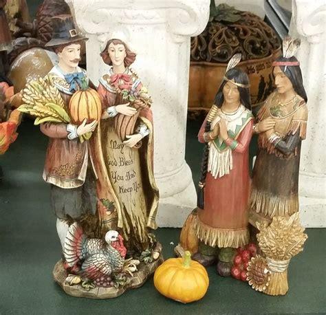 pilgrims  indians figurines thanksgiving  family