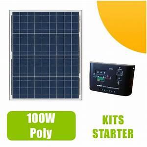 Panneau Solaire 100w : kit panneau solaire polycristallin 100w 12v et r gulateur ~ Nature-et-papiers.com Idées de Décoration