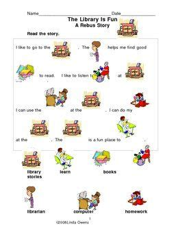 rebus story  library worksheet  pages  images