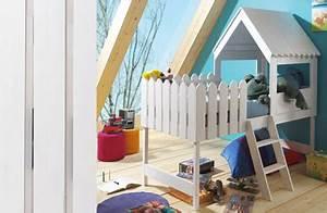 Lit Sureleve Enfant : lit sur lev cabane enfant en bois blanc ~ Teatrodelosmanantiales.com Idées de Décoration