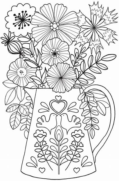 Coloring Pages Flowers Adult Printable Flower Dover