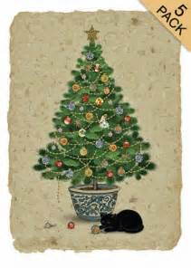 black cat christmas tree card pack gorgeous greeting cards