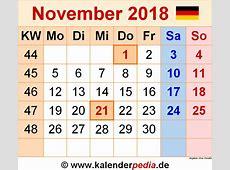 Kalender November 2018 als PDFVorlagen